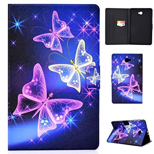 Lspcase Galaxy Tab A6 10.1 Hülle PU Leder Schutzhülle Flip Hülle Stand Magnetverschluss Tasche - mit Auto Schlaf & Kartenschlitz für Samsung Galaxy Tab A 10.1 Zoll T580 / T585 Flash Schmetterling