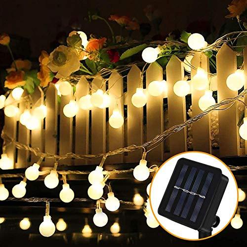 Guirnalda Luces Exterior Solar, Nasharia 60 LED 8M Cadena Solar de Luces, IP65 Impermeable 8 Modos, Guirnaldas Luces Solar para Exterior, Interior, Jardines, Boda, Fiesta, Casas (Blanco Cálido)