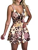 Relipop Women's Jumpsuits Floral Print Spaghetti Straps Sleeveless V Neck Front Tie Knot Rompers Pink
