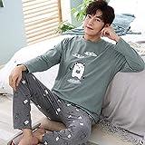 MLDSJQJ Conjunto de Pijamas para Hombres Otoño Invierno Algodón Conjuntos de Pijamas Masculinos Ropa de Dormir Simple Hombres Ropa de Dormir de Manga Larga Top Pant Ropa de Ocio,C Q 5985,XL