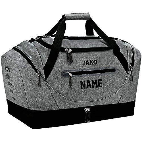 JAKO Sporttasche Champ mit Bodenfach, 60 cm, 68 L, Grau Meliert (mit Aufdruck)
