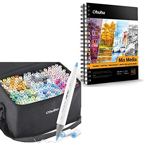 """Ohuhu Alcohol Brush Markers, 168-color Art Markers Set, Double Tipped Alcohol-based Markers+Mix Media Pad, Ohuhu 10""""×7.6"""" Mixed Media Art Sketchbook"""