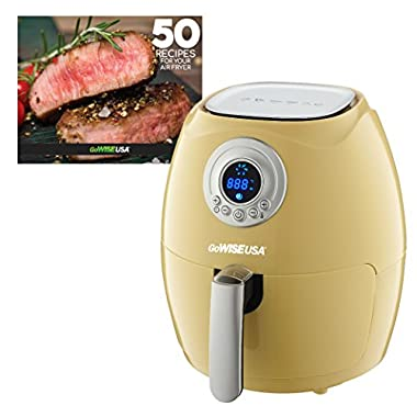 GoWISE USA Air Fryer + 50 Recipes for your Air Fryer Book (2.75-QT, Majestic Yellow)