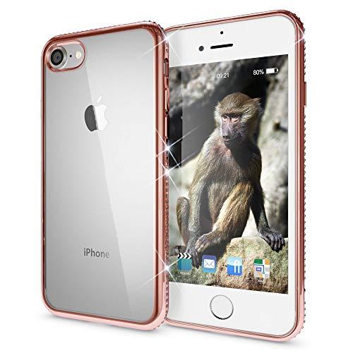 NALIA Custodia compatibile con iPhone SE 2020/8 / 7, Cover Protezione Ultra-Slim Case Protettiva Trasparente Silicone con Strass Bordi, Clear Telefono Bumper, Colore:Rosa Gold Oro
