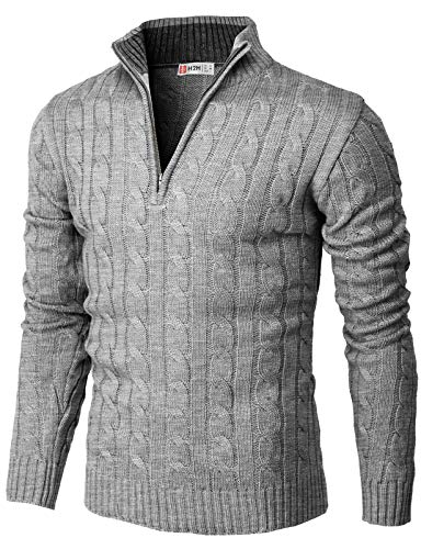 H2H Mens Casual Slim Fit Pullover Sweaters Mock Neck Zip up Various Patterned Gray US 2XL/Asia 3XL (CMOSWL040)