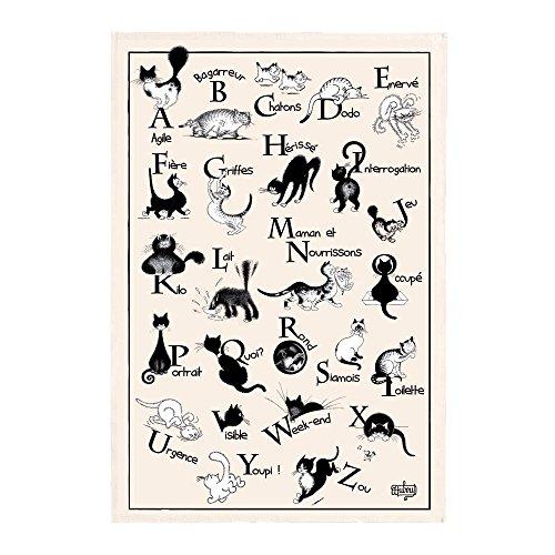 Winkler - Torchon Dubout Abécédaire – 48×72 cm - Chiffon à vaisselle - Serviette de nettoyage – Linge de cuisine restauration – 100% coton absorbant – Made in France - Dessin humoristique