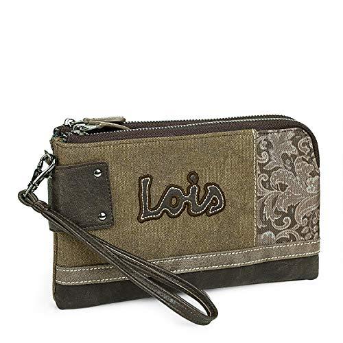 Lois - Bolso Bandolera Pequeño Mujer. Lona Estampada y Cuero PU. Ideal...