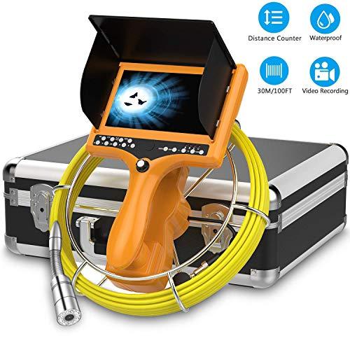Rohrinspektionskamera mit Messzähler, 30M DVR-Abwasserkamera Pipeline Drain Schlangenkamera Industrielles Endoskop Schlangen Videosystem Wasserdichtes IP68-Endoskop mit 7-Zoll-Farb-LCD-Monitor 1000TVL