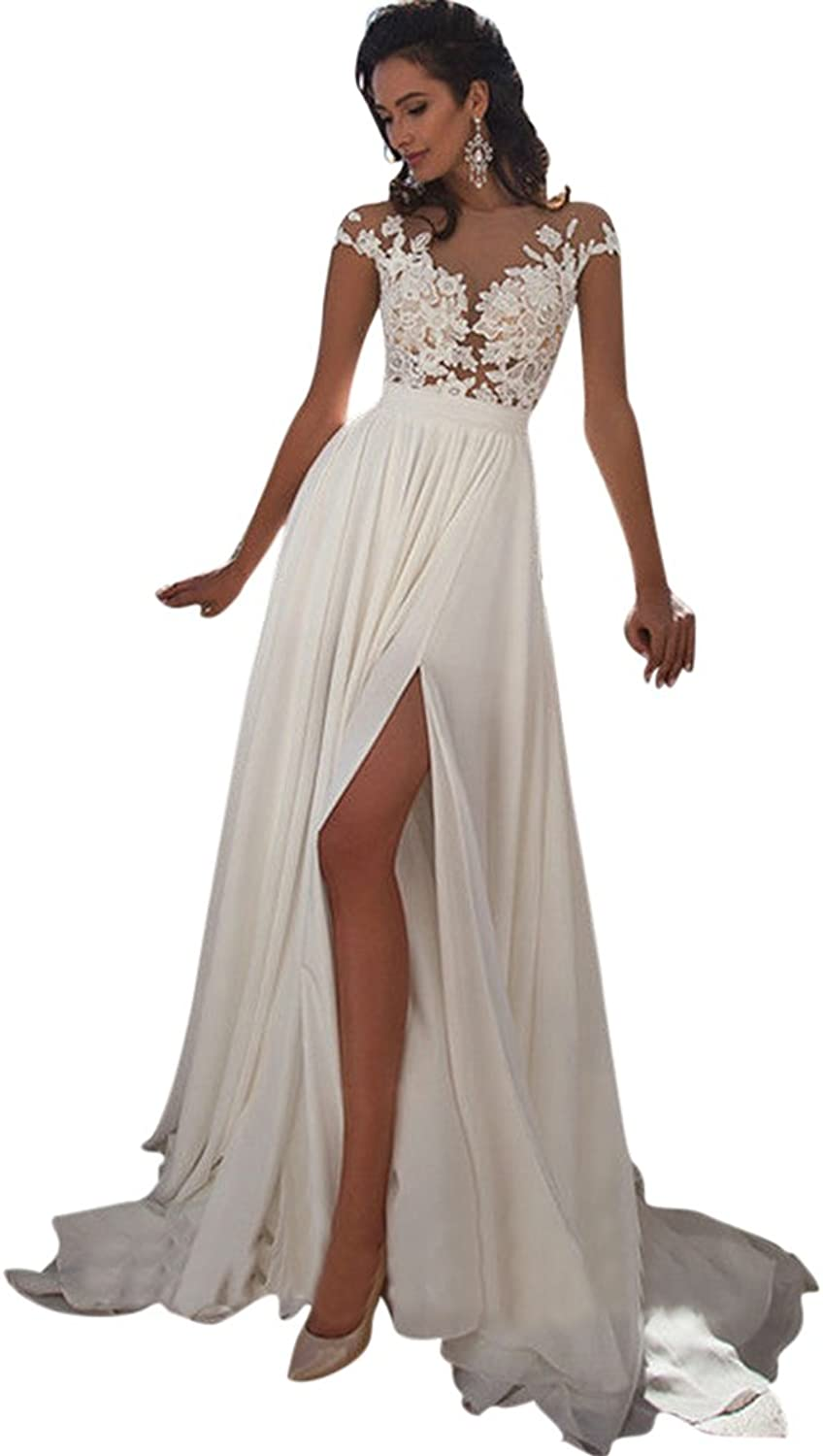 JoyVany SeeThrough Back Applique Cap Sleeves Wedding Dresses with High Slit