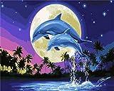 Safiman Pintura por Números Pintura,Pintura Digital De Bricolaje por Kits De Números sobre Lienzo para Colorear Pintura A Mano-Luna De Delfines 40X50Cm(Sin Marco)