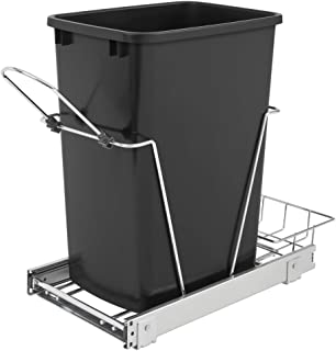 Rev-A-Shelf 35 Quart Pull Out Sliding Single Waste Trash Container Bin, Black