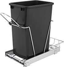 Rev-A-Shelf RV-12KD-18C S Single 35 Quart Sliding Pull Out Kitchen Cabinet Waste Bin Container, Black