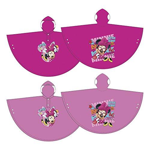 Familie24 Disney Minnie Maus Poncho Regenponcho Kinderponcho Regenjacke Regenmantel Kinderregenjacke (4 Jahre, Rosa)