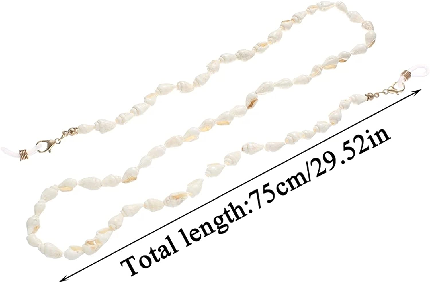 GWSD Conch Shell Reading Glasses Chain Sunglasses Eyewears Cord Holder Neck Strap Rope Necklace Eyeglass String Lanyard (Color : White)