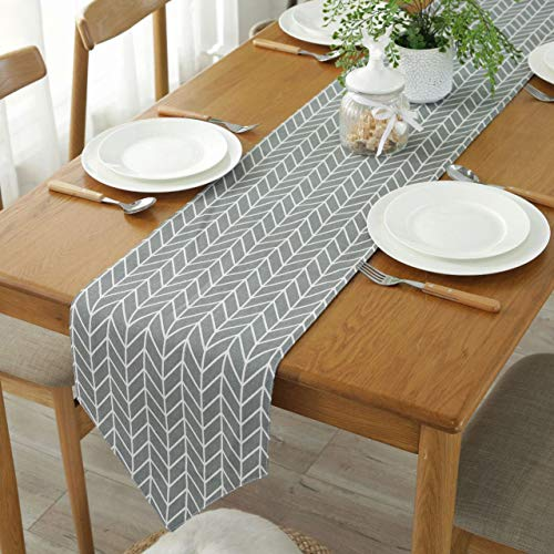 Bestenrose Table Runner Home Tablecover Decorative 2 sides Cotton Linen Classic Table Bedding Mat Dining Room Party Holiday Decoration (Grey, 12' x 47'(32 * 120cm))