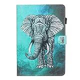 HülleFun Hülle für Huawei MediaPad T5 10, PU Leder Tasche Hülle Etui Schutzhülle für Huawei MediaPad T5 10.1 Zoll Tablet Hülle Cover Bookstyle Lederhülle mit Standfunktion, Elefant