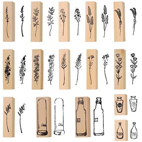 Sportstorm 15 PCS Holzstempel zum Basteln Gummi Holz Vintage Holzstempel Hochzeit, Geschenkanhänger, Keksstempel Tischdeko, Natürliche Pflanze Boxed Seal Set