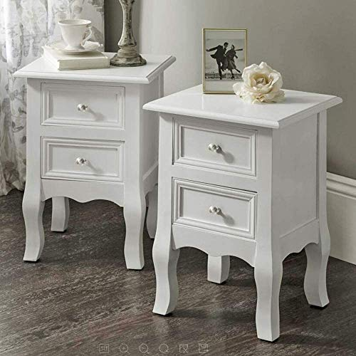EXQUI Bedside Table Set of 2 White Bedside Drawers Night Stand with 2 Drawers Wooden Cabinet of Drawers for Bedroom Living Room, 35x31x49.5cm (White Knob),G157-AW2-BBS