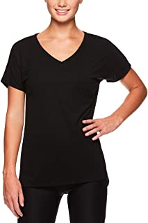 Reebok Women's V Neck Workout & Gym T Shirt - Short Sleeve Activewear Top