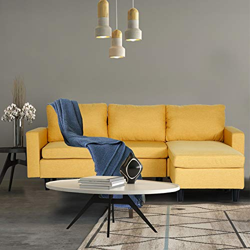 PieDle Convertible Sectional Sofa Couch L-Shaped Couch with Reversible Chaise Modern Linen Fabric for Small Space Yellow
