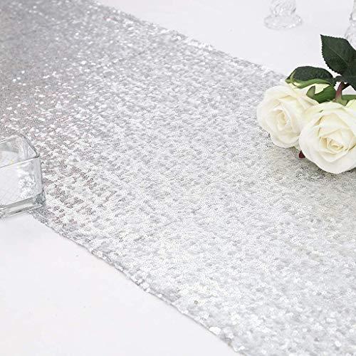 Eternal Beauty - Camino de mesa con lentejuelas, tela, Plateado, 30x243 cm