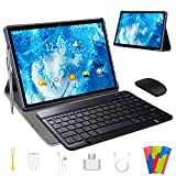 Tablet 10 Pulgadas 4 GB RAM 64GB/128GB ROM Android 9.0 Certificación Google GMS Ultrar-Rápido Tablets 4G LTE Dual SIM / WiFi 8000mAh Quad Core /GPS,Type-c, OTG, Netfilix/ - con Teclado (Azul)
