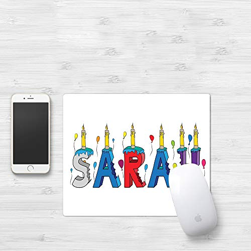 Mauspad mit genähten Kanten,Sarah, festliche Geburtstagskind-Namensbeschriftung mit bunten Buchstaben und,rutschfeste Gummi-Basis-Mousepad, Gaming und Office mauspad für Laptop, Computer & PC320x250mm