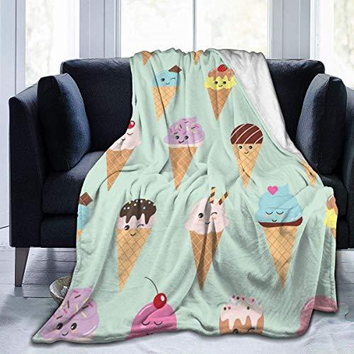 Lawenp Conos de Helado Manta Estampada Ligero Súper Suave Micro Polar Mantas de Tiro Que se adaptan al sofá Cama Sala de Estar Sofá Silla 80 'X 60'