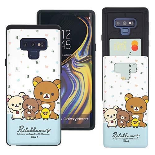 Compatible with Galaxy Note9 Case Rilakkuma Slim Slider Card Slot Dual Layer Holder Bumper Cover - Rilakkuma Friends