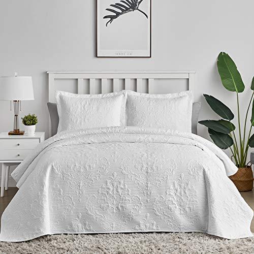 Hansleep Tagesdecke 220x240 cm Wohndecke Weiß Bettüberwurf Mikrofaser Bettdecke für Schlafzimmer Stepp Decke Super Weich & Komfort Geeignet für Bett