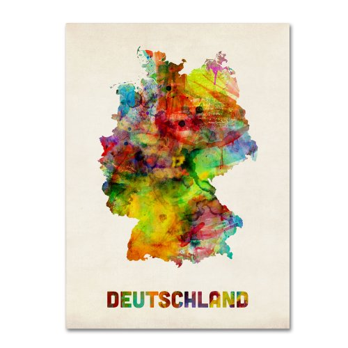 Germany Watercolor Map by Michael Tompsett, 18x24-Inch Canvas Wall Art
