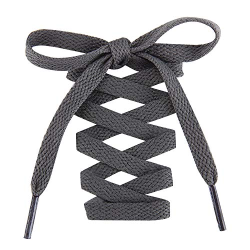 Handshop Flat Shoelaces 5/16' - Shoe Laces Replacements For Sneakers and Athletic Shoes Boots Deep Gray 122cm