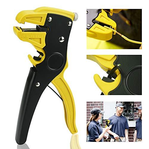 DURANTEY Alicate Pelacables Automático Multifuncional Pela Cables Electricos de Ajuste de 0,2 a 6 mm Cortadora de Cable Manual Herramienta para Cortar Cables 10-24AWG / 0.2-6mm (Amarillo+Negro)