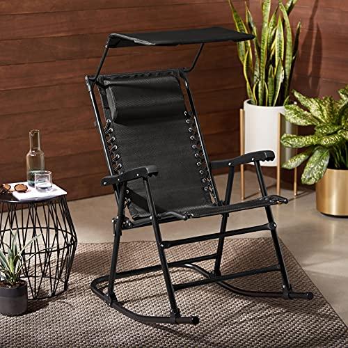 Amazon Basics Foldable Rocking Chair with Canopy, Black