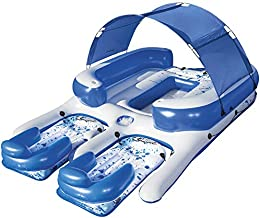 Bestway CoolerZ Tropical Breeze III Inflatable 8-Person Floating Island with UV Sun Shade and Connecting Lounge Rafts
