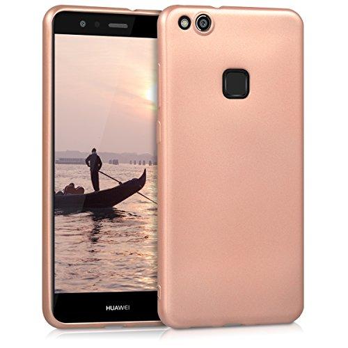 kwmobile Cover Compatibile con Huawei P10 Lite - Cover Custodia in Silicone TPU - Backcover Protezione Posteriore - Oro Rosa Metallizzato