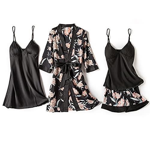 Pijamas para Mujer Conjunto De 4 Piezas Pijama Sexy para Mujer Conjuntos De Pijama para Mujer Ropa para El Hogar