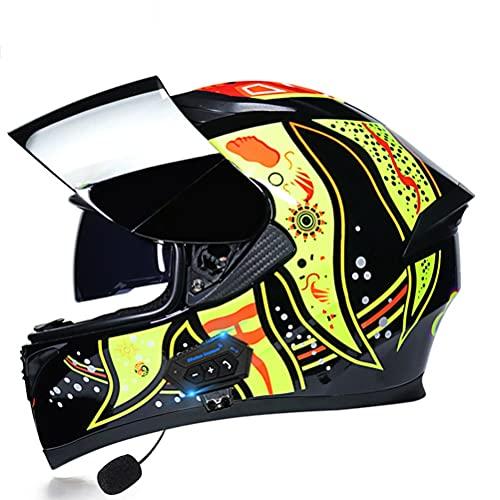Casco De Moto Modular Bluetooth Integrado con Doble Visera Motocicleta Integral ECE Homologado Transpirable Y Cómoda for Mujeres Y Hombres (Color : E, Size : L/Large (58-60cm))