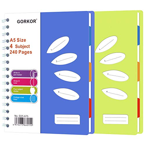 GORKOR Spiral Notebook with Dividers, A5 Subject Notebooks College Ruled, 240Pages, 2 Pack (Blue + Orange)
