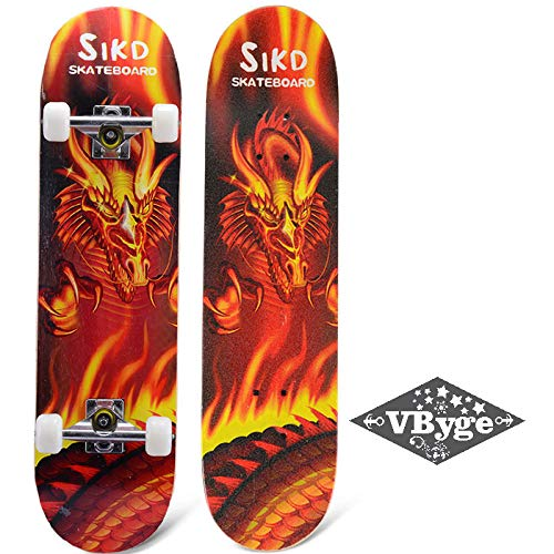VByge Allrad Skateboard Anfänger Jugend Erwachsenes Kind Penny Board 4-Rad Flash Luminous Jungen und Mädchen Highway Brush Street Longboard roter Drache 80x20cm