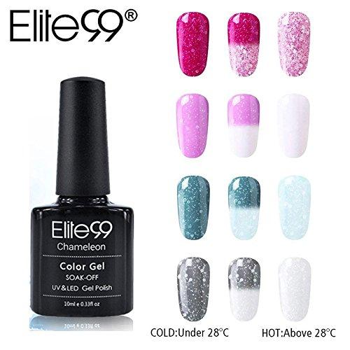 Elite99 Esmalte Semipermanente UV LED 4pcs Kit Uñas de Gel Pintauñas de Camaleón Color Cambia con Temperatura Esmalte de Uñas Nieves Soakoff Manicura 10ML - 009