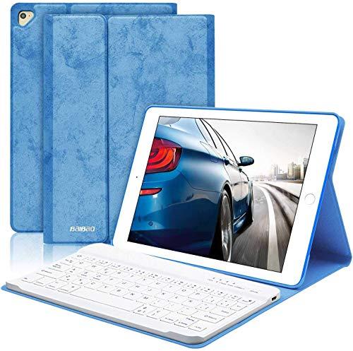 BAIBAO Funda Teclado para iPad Air 2, Teclado Bluetooth para iPad 2018(6th Gen)/2017/9.7/Air 2/1con Teclado Inalámbrico Español,Funda para iPad con Teclado Desmontable (Azul)