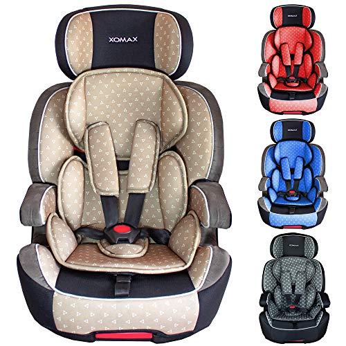 XOMAX XL-518 Kindersitz mit ISOFIX I mitwachsend I 9-36 kg, 1-12 Jahre, Gruppe 1/2/3 I 5-Punkt-Gurt und 3-Punkt-Gurt I Bezug abnehmbar und waschbar I ECE R44/04 I beige/grau/schwarz