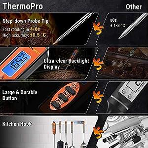 ThermoPro TP01S Thermometre Cuisson à Lecture Instantané avec Longue Sonde Thermomètre pour Viande Numérique pour Boissons Chaudes Le Grill Barbecue Fumoir Cuisine