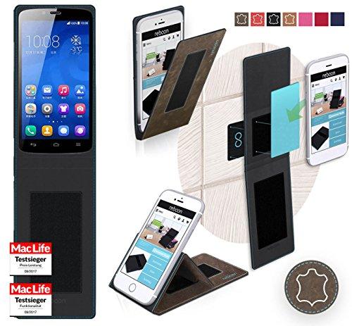 Hülle für Huawei Honor 3C Play Tasche Cover Hülle Bumper | Braun Wildleder | Testsieger