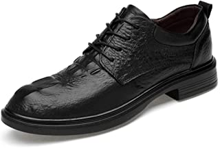 ZhaoXin Chen Men's Business Casual Oxfords Comfortable Crocodile Pattern Low Top Lace Up Big Size Formal Shoes(Smooth Black,Suede Black,Conventional is Optional)
