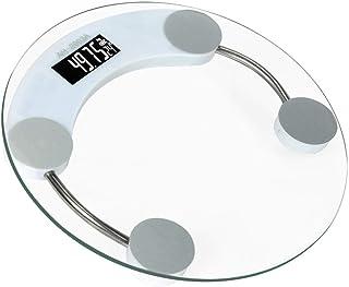 Escala De Grasa Corporal Báscula De Grasa Corporal Redonda Báscula Inteligente Led Báscula De Baño Digital Báscula Vidrio Templado Transparente Transparente Diseño Antideslizante B