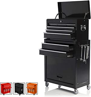 Big Tool Chest,Removable 2 in 1 Tool Box,8-Drawer Tool Storage,Detachable Tool Chest with 4 Universal Wheels (2 PCS Lockable),Keyed Locking System Toolbox Organizer,Black