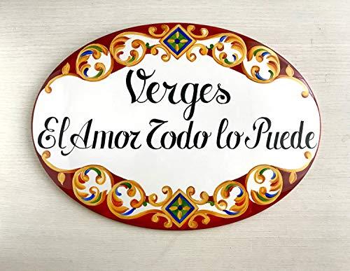 Ced454sy Cartel de casa personalizado interior, cerámica Talavera, letrero de nombre personalizado, baldosa española, decoración del hogar mexicano