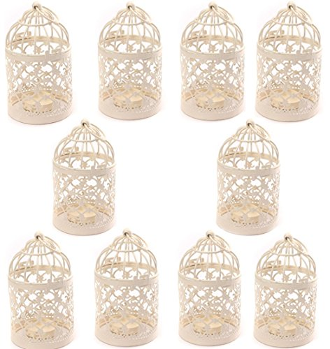 Yonger Metal Tealight Hollow Candle Holder Hanging Lanterns Creative Home Centerpiece Bridal Wedding Xmas Party Decor Birdcage White( 3.1x 5.6Inch ) ,10pcs
